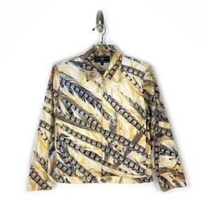 St. John Sport Feather Print ZIP Up Jacket